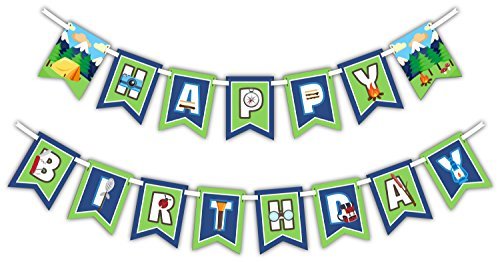 Camping Adventure Happy Birthday Party Banner Decoration (Includes 23ft Ribbon)