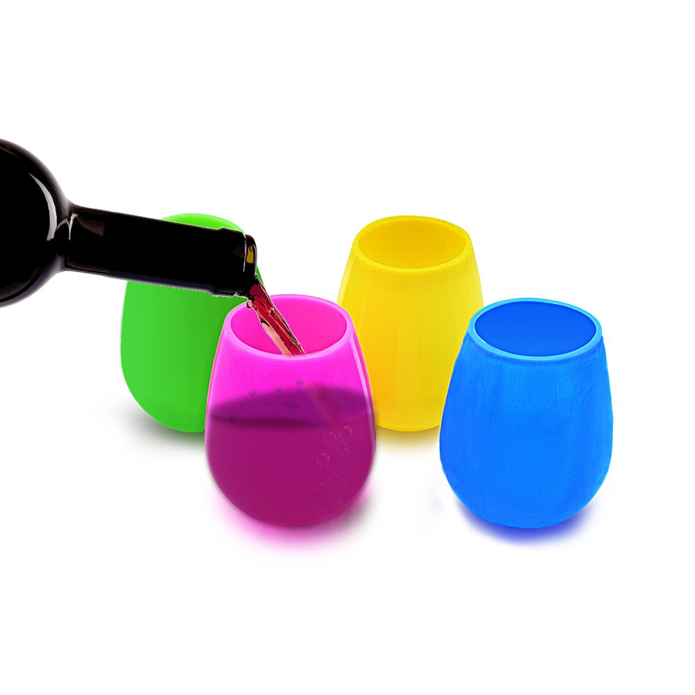 BPA Free and Food-Grade Wine Cups Sunnyac Silicone Wine Glasses Foldable and Unbreakable Pool Picnic 4 Packs Outdoor Camping Great for Travel
