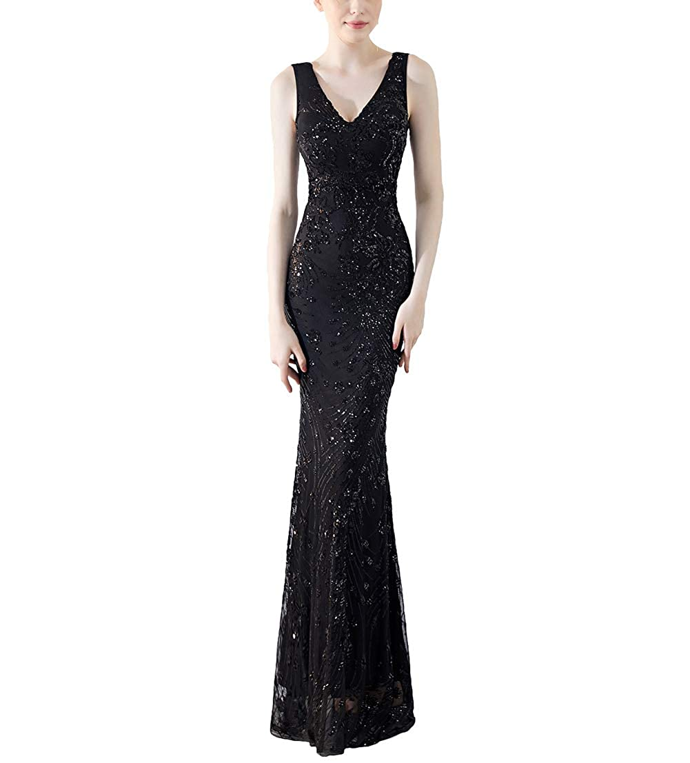 1211black Chowsir Women Sexy Elegant Slim Sequin Cocktail Party Evening Long Dress