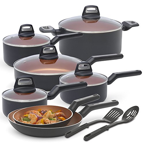 BLACK+DECKER 83375 14 Piece Durable Titanium Nonstick Interior Cookware Set, Multi-Size, Copper