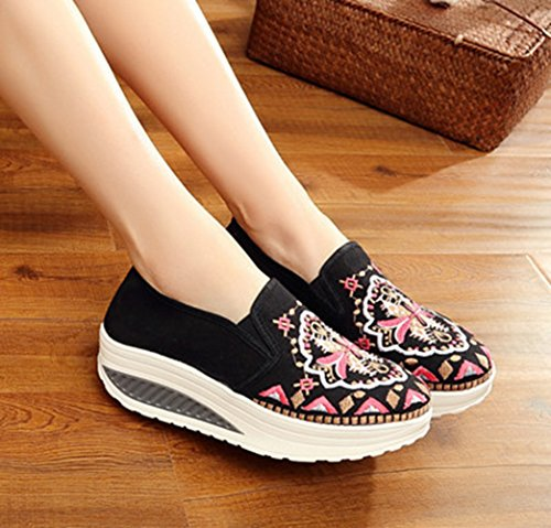 AvaCostume Womens Embroidery Platform Light Weight Fashion Loafer Shoes Black gtJm19kk
