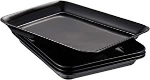 i BKGOO Foodservice Black Plastic Tray Set of 4 Service Melamine tary for Parties, Coffee Table, Kitchen Size(9