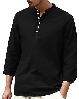 1381c087923b Enjoybuy Mens 3 4 Sleeve Henley Shirt Casual Linen Cotton Summer Loose Fit Beach  Shirts