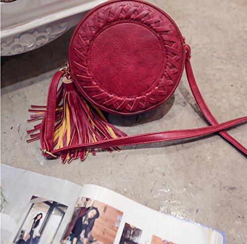 Honeysuck donna, moda, borse a tracolla in pelle nappa con tracolla (rosso)