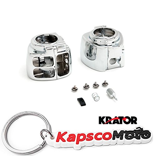 Krator Chrome Switch Housings for Harley Davidson Sportster/Dyna/Softail/V-Rod (1996-2012) Cruiser Bobber Chopper Chrome Switch Control House + KapscoMoto Keychain