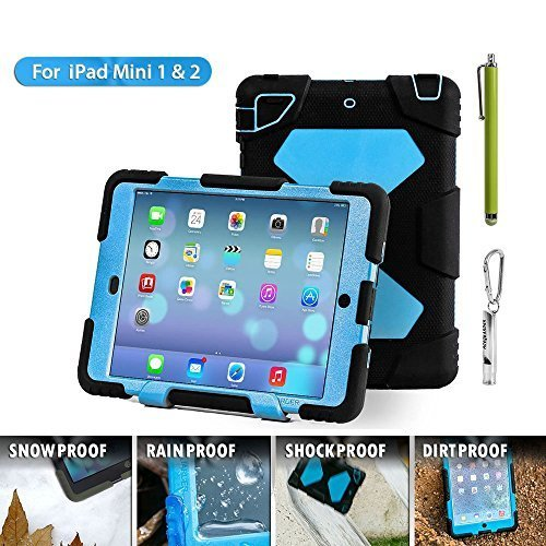 Aceguarder global design new products iPad mini 1&2&3 case snowproof waterproof dirtproof shockproof cover case with stand Super protection for kids Outdoor adventure sports tourism Gifts Outdoor Carabiner + whistle + handwritten touch pen (ACEGUARDER brand)(Black/Blue) (Cas For The Ipad Mini compare prices)