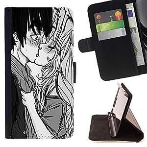 BullDog Case - FOR/LG OPTIMUS L90 / - / KISS BOY GIRL SURPRISE LOVE COUPLE ART DRAWING /- Monedero de cuero de la PU Llevar cubierta de la caja con el ID Credit Card Slots Flip funda de cuer