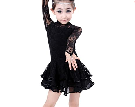 97d307849 Girls performing costumes Latin dance dress Cha Cha skirts Tango dress  black 120