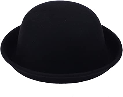 Jtc Women Fedora Bowler Solid Color Wool Hat Derby Cap Black
