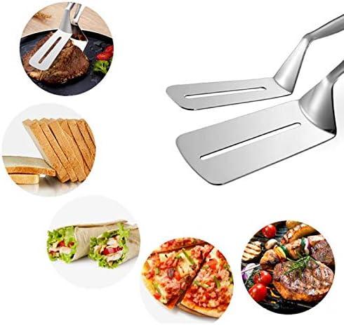PLMM en Acier Inoxydable Anti-brûlure Pinces À Barbecue Outil De Cuisine Pain Alimentaire Clip Frit Steak Pelle Barbecue Outil De Grillade Grill Accessoires, Argent Silver