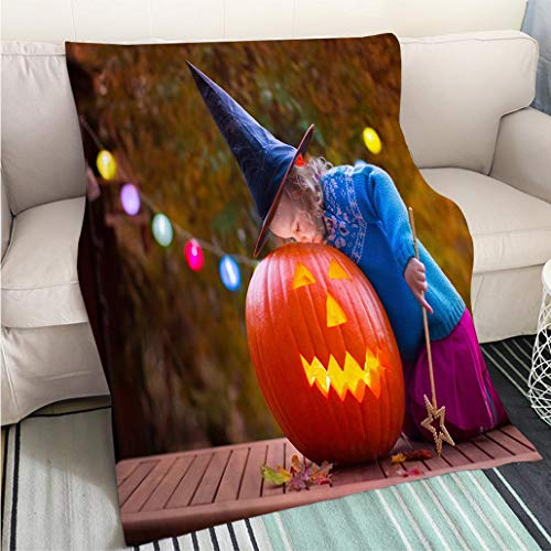 BEICICI Customized Comfortable 100% Soft Premium Blanket Kids Carving Pumpkin at Halloween Fashion Ultra Cozy Flannel Blanket]()