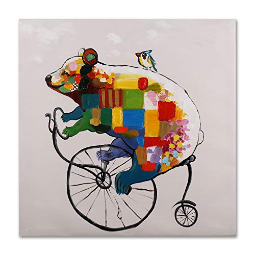 (Art Hub 100% Hand Painted Oil Painting Modern Pop Animal Art Décor Bear Cub Penny-Farthing Gallery Wrapped Framed Wall Decoration, 24x24)