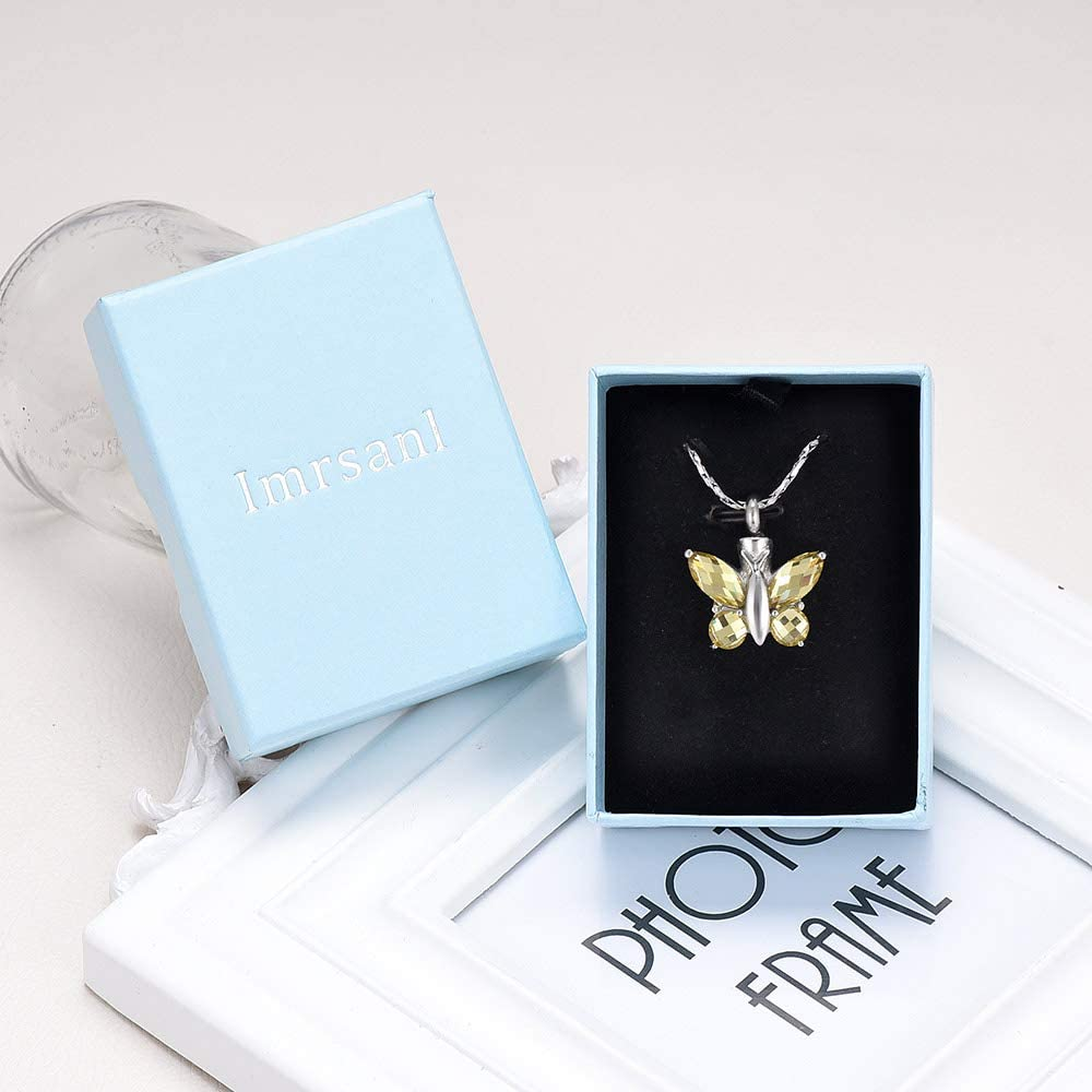 Imrsanl Butterfly Cremation Jewelry for Ashes Memorial Keepsake for Beloveds Ashes Necklace Cremation Urn Pendants for Human Ashes Adult
