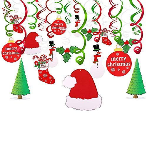 Merry Christmas Hanging Swirl Decoration Kit(30pcs) Merry Christmas Swirls Garland Foil Hanging Ceiling Decoration for Xmas Winter Wonderland Holiday Party Decor Supplies,Already Assembled -