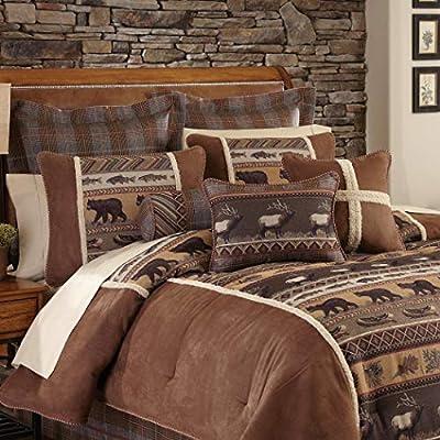691c3a715 Amazon.com  4 Piece Brown Cabin Themed Comforter King Cal King Set ...