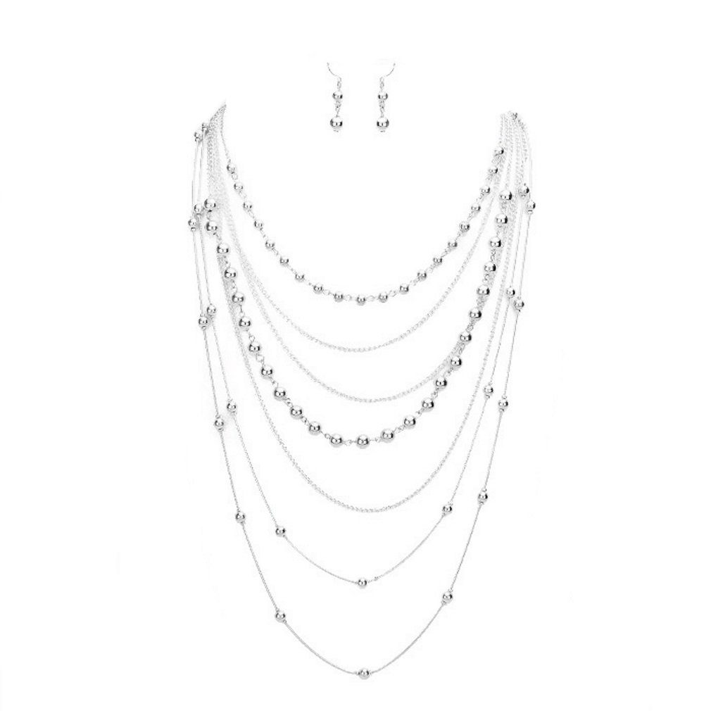 Affordable Wedding Jewelry Uniklook Statement Multi Layered Metal Chain Ball Beads Strands Necklace Earrings Set Gift Bijoux (Silver)