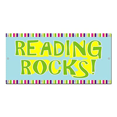 """Graphics and More Reading Rocks - Classroom School Teachers Sign Banner - 58"""" (width) X 28"""" (height)"""