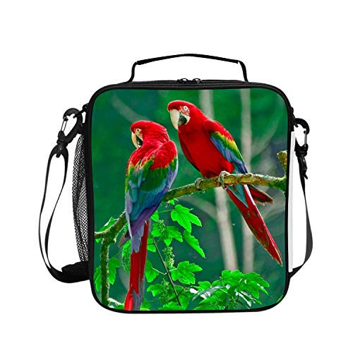 Reusable Couple Of Scarlet Macaws Lunch Tote Bag Insulated Lunch Bags Lunch Box Tote Bag Handbag