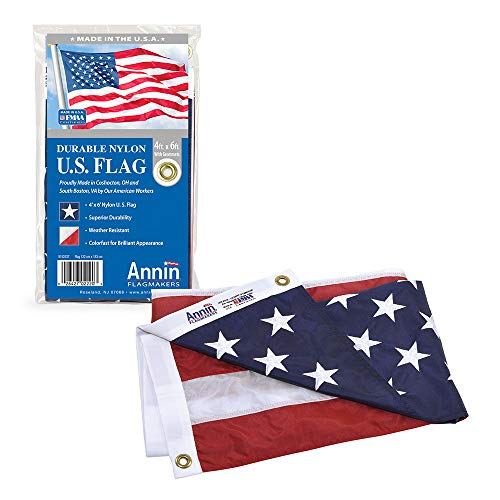 Annin Flagmakers Model 2220 American Flag 4x6 ft. Nylon SolarGuard Nyl-Glo , 100% Made in USA with Sewn Stripes, Embroidered Stars and Brass Grommets.