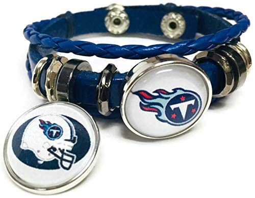 NFL Football Fan Tennessee Titans Blue Leather Bracelet W/Logo and Helmet 18MM - 20MM Snap Charms