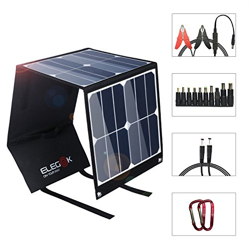 ELEGEEK 40W High Efficiency Foldable Solar Panel Charger Built in icGEEK Fast Charge with USB (5V) + DC (18V) Output (40W 5V/18V) by EleGeek