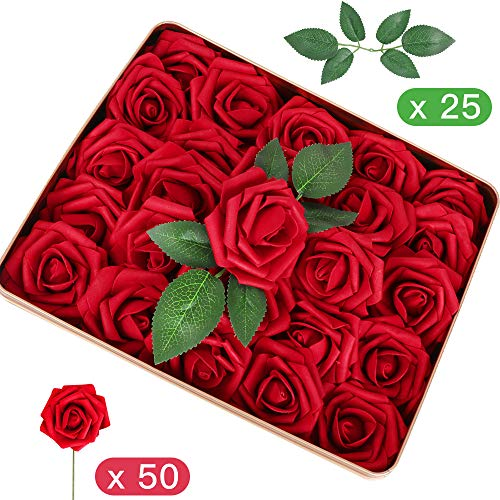 Admitrack Pack of 50 Artifiical Flowers Real Looking Artificial Roses Fake Roses for DIY Wedding Bridal Bouquets Centerpieces Arrangements Party Cake Baby Shower Home Decorations (Dark -