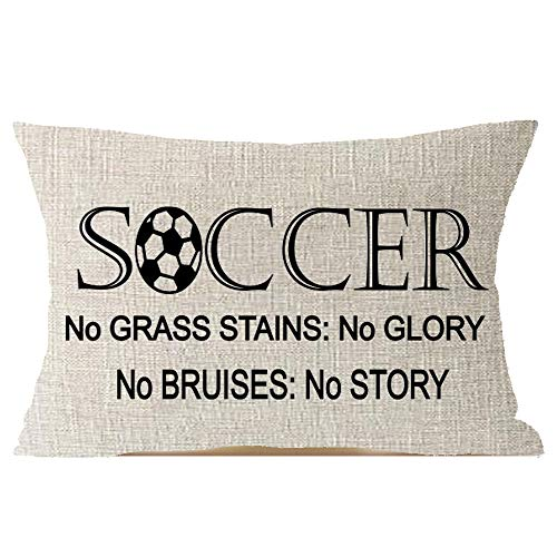 (Sport Activities Encouraged Quote Soccer No Grass Stains: No Glory, No Bruises: No Story Cotton Linen Square Throw Waist Pillow Case Decorative Cushion Cover Pillowcase Sofa Lumbar 12x20 inches)