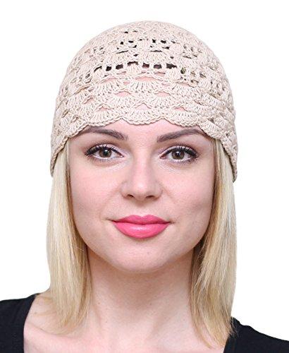 (NFB Fascinator Hats for Women Ladies Summer Beanie Cotton Cloche Crochet caps (Beige))