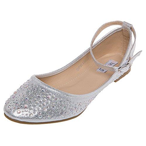 SheSole Women's Rhinestone Ballet Flats Silver Shoes US 11