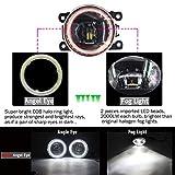 Cawanerl FD- Transit -2006-2015 Car 4000LM LED Bulb H11 Fog Light + Angel Eye Daytime Running Light DRL 12V Super Bright
