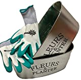 Decorative Tin Flower and Herb Planters and Gardena Brand Latex Coated Gardening Gloves Bundle - Planter Flower Pot for Birthday, Hostess, Garden Gift (Turquoise)