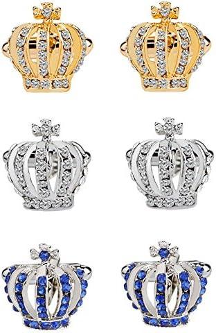 JUNGEN 3 Pares Gemelos de Corona de Moda para Hombres Cufflinks de Aleaci/ón Gemelos De Estilo Vintage para Camisa del Negocio
