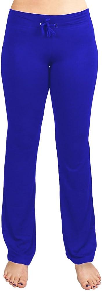 Crown Sporting Goods Soft & Comfy Yoga Pants - 95% Cotton/5% Spandex Blend (Blue