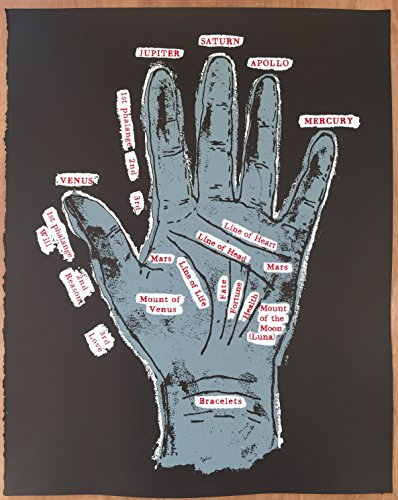 """16"""" x 20"""" - Hand of Fate - Limited Edition Hand Silk Screened Art Painting Gypsy Palm Reading Hand of Fate Fortune Telling by Rob Johnston Artist"""