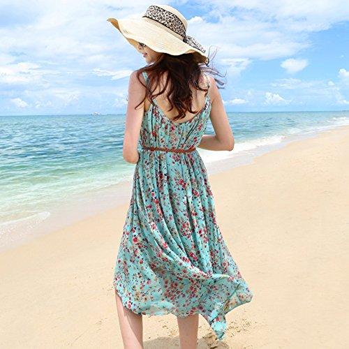 Vestito A Due Pezzi Vestito Floreale Donna Estate Vestiti Spiaggia Chiffon Della Boemia Dell'imbracatura Femmina + Top Rosa