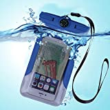 Waterproof Case, FONTAR Universal [Float] Waterproof Cell Phone Case [With Compass,Armband,Lanyard] for iPhone 6,6S,6 Plus,6S Plus, Samsung Galaxy S5,S6,S7,Edge,Note 4,5,LG G3,G4,G5 (Blue)