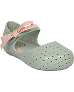 Girls PVC Mary Jane Flat - Toddler Girl - Bow Tie Flat - Perforated Walker -