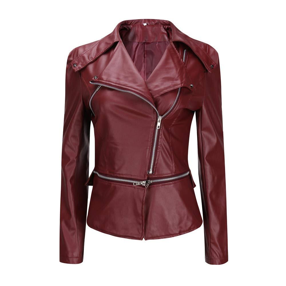 iDWZA Fashion Winter Warm Women Short Coat Leather Jacket Parka Zipper Tops Overcoat Outwear(Wine,US XS/CN S)