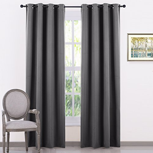 PONY DANCE Light Block Blackout Curtains Gray Home Decor Thermal Insulated Room Darkening Curtain Panels Window Treatments Noise Reducing for Bedroom, 52 by 84 Inches, Grey, Set of 2
