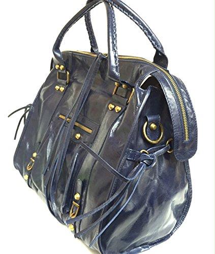 SUPERFLYBAGS Borsa Donna in vera pelle effetto invecchiato modello Barcellona XL + specchio Made in Italy blu scuro