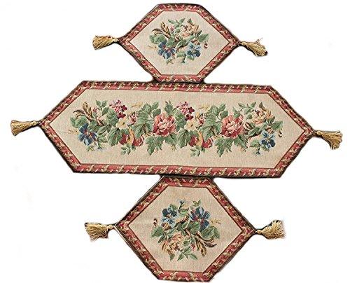 Tache 3 PC Floral Festive Tapestry Red Lavish Bouquet Tab...