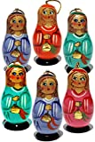 Christmas Angels Russian Handmade Wooden Nesting Doll Style Ornament Set (Pack of 6)