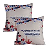 Queenie - 2pcs Nautical & Marine Theme Thick Cotton Linen Pillowcase Cushion Cover Decorative Throw Pillow Case 18 X 18 Inch 45 X 45 Cm, Set of 2 (To Dance With The Stars)