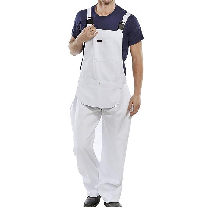 17a019a6a63 Mono de trabajo de color blanco o azul oscuro algodón para hombre para  pintor overol peto monos para taladro: Amazon.es: Ropa y accesorios