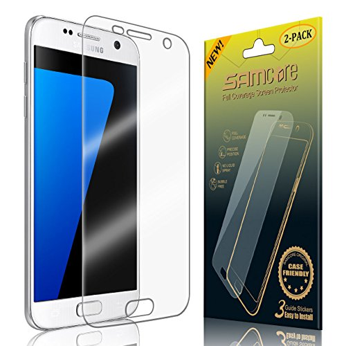 Samcore Galaxy S7 Screen Protector, Case Friendly Full Coverage Anti-Bubble HD Clear Film [2-Pack] [Edge to Edge] for Samsung Galaxy S7