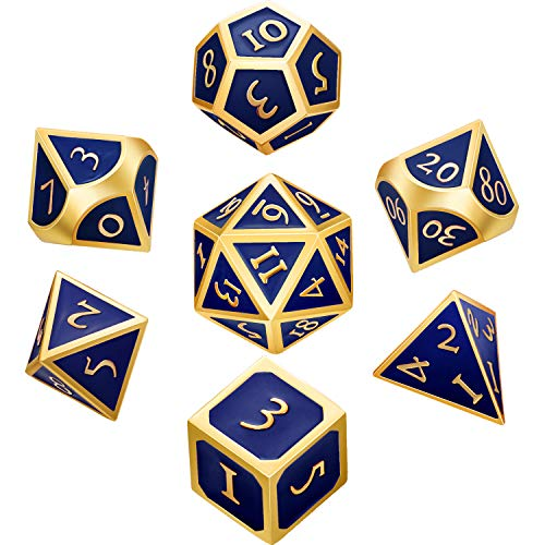 Hestya 7 Pieces Metal Dices Set DND Game Polyhedral Solid Metal D&D Dice Set with Storage Bag and Zinc Alloy with Enamel for Role Playing Game Dungeons and Dragons (Blue)