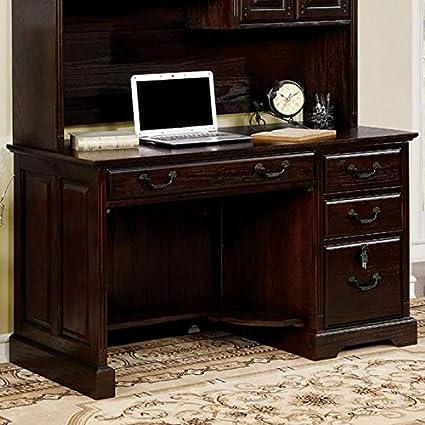 Amazon Com Tami Dark Walnut Wood Credenza Desk W Hutch By Furniture