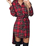Womens Dresses Liraly Clearance Lady Sexy Slim Long Sleeve Button Casual Plaid Tie Shirt Romper Dress (S, Red)