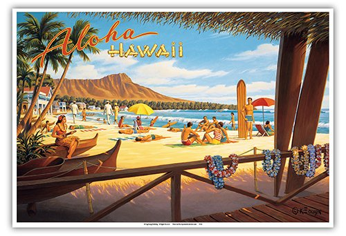 Aloha Hawaii - Diamond Head Crater - Royal Hawaiian Hotel - Waikiki Beach - Vintage Style Hawaiian Travel Poster by Kerne Erickson - Master Art Print - 13 x - Vintage Hawaiian Art Beach