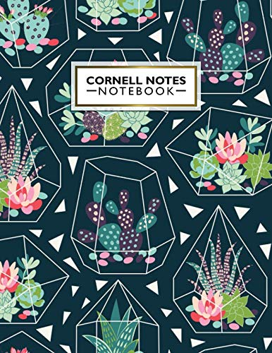 Cornell Notes Notebook: Cute Cornell Note Paper Notebook. Nifty Large College Ruled Medium Lined Journal Note Taking System for School and University - Trendy Cactus Succulent Floral Cover